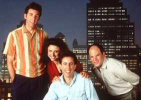 Seinfeld gang: Jerry Seinfeld, George Costanza, Elaine Benes, Cosmo Kramer