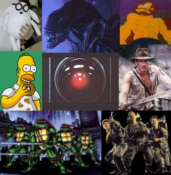 Homer Simpson, Ghostbusters, Indiana Jones, Dogbert, Teenage Mutant Ninja Turtles, Groundskeeper Willie, One Dozen Aliens, Hal 9000